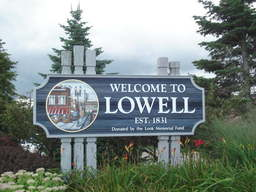 Welcome to Lowell road sign