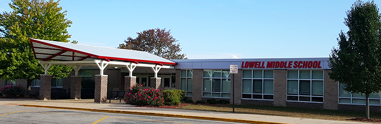 Front entrance of Lowell Middle School